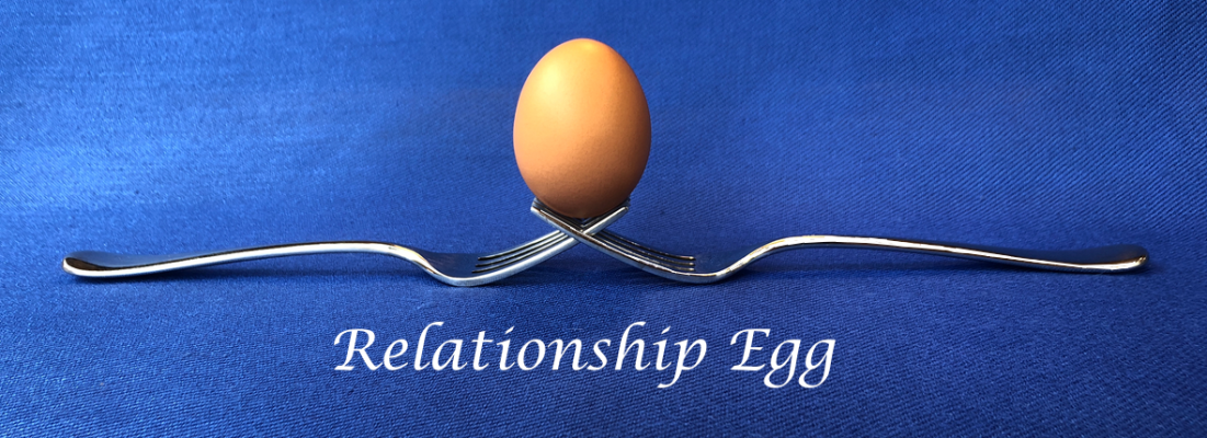 A balancing egg shows how relationships should be